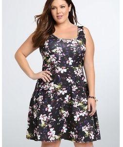 Torrid Scuba Black Floral Skater Sleeveless Dress